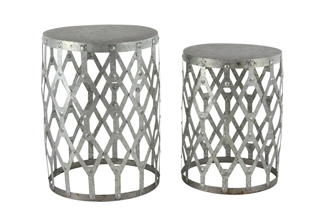 Farmhouse Round Aluminum Accent Tables-Set Of 2 - 360