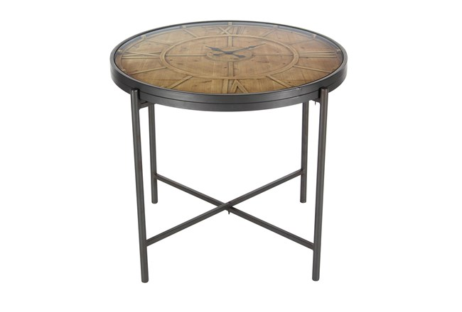 Large Brown Iron And Wood Round Accent Table With Clock Design - 360