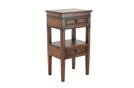 Large Rectangular Stained Brown Wooden Side Table With 2-Tiered Design