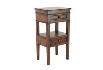 Large Rectangular Stained Brown Wooden End Table With 2-Tiered Design