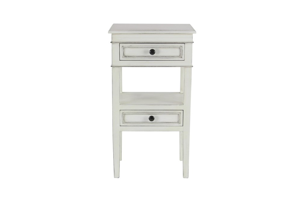 Matte White Wooden End Table With Drawers