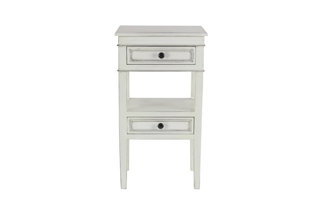 Matte White Wooden End Table With Drawers - 360
