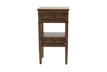 Wood 2 Drawer Accent Side Table