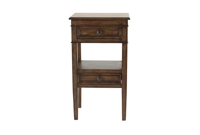 Wood 2 Drawer Accent Side Table  - 360