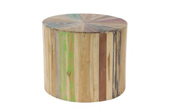 Light Brown Reclaimed Wood Drum Accent Table