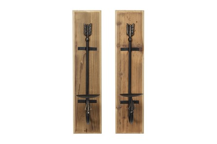Wood And Iron Candle Wall Sconces-Set Of 2 - Main