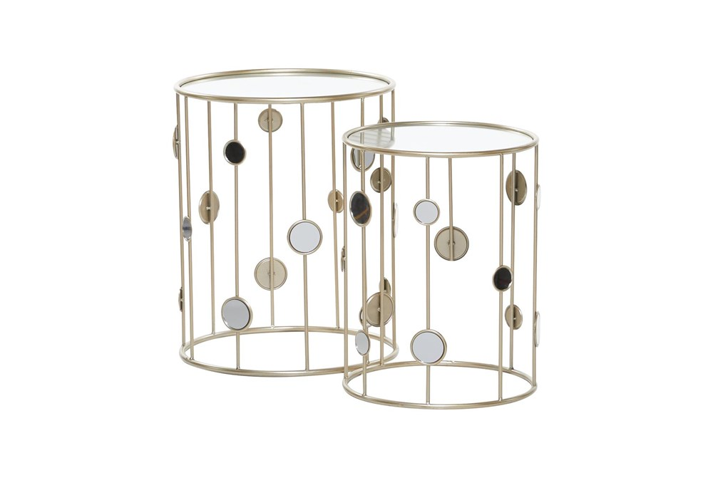 Metal And Glass Mirrored Circles Side Table-Set Of 2