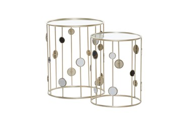 Metal And Glass Mirrored Circles End Table-Set Of 2
