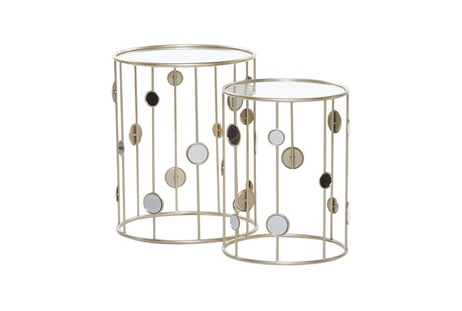 Metal And Glass Mirrored Circles End Table-Set Of 2 - 360
