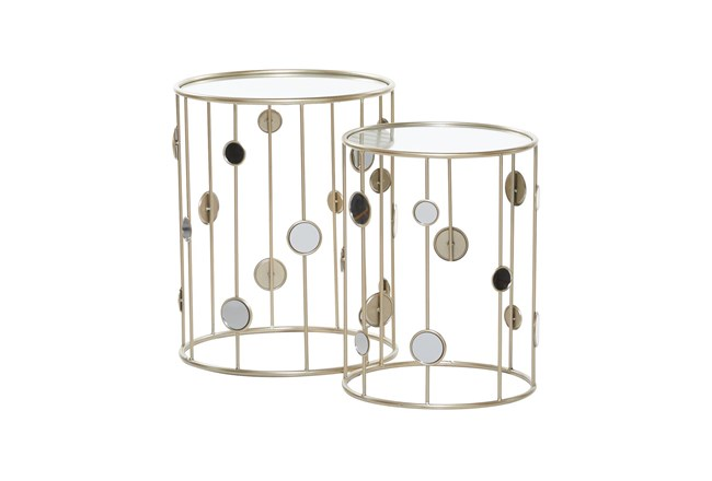 Metal And Glass Mirrored Circles Side Table-Set Of 2 - 360