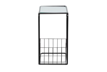 Metal And Glass C Table With Magazine Rack