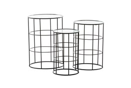 Round Metal And Glass End Table