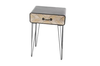 Modern Iron And Wood End Table With Chevron Patterned Drawer