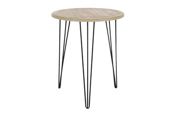 18 Inch Round Wood And Metal Hairpin Leg Accent Table