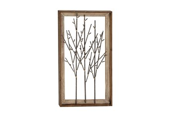 Framed Brown Wood And Metal Branch Wall Decor
