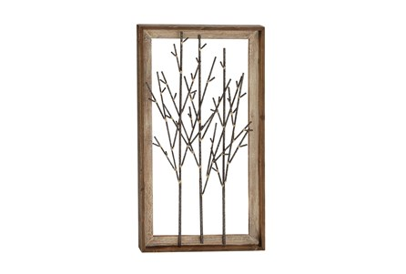 Framed Brown Wood And Metal Branch Wall Decor - Main
