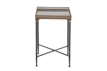17 Inch Square Large Black Iron Metal And Marble Tray Table