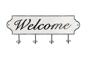 White Welcome Plaque With Metal Wall Hooks
