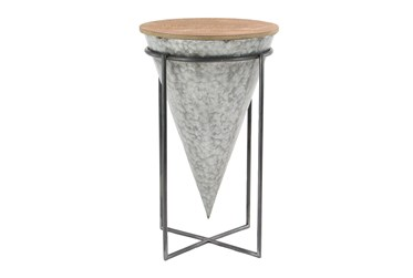 Wood And Iron Stool With Black And Grey Geometric Design