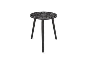 21 Inch Round Black Wood Carved Top Accent Table
