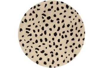 6' Round Rug-Spotty Cream/Black