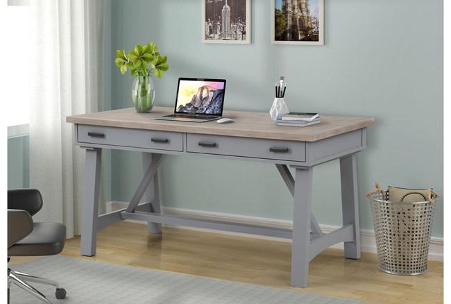 Americana Dove Modern 60 Inch Writing Desk - 360