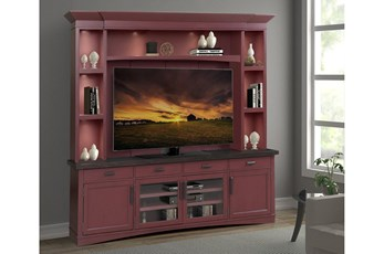 "Americana Cranberry 95"" 4 Piece Entertainment Center"