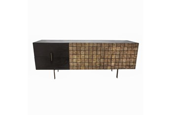 """Two-Tone Black + Brown Wood 18"""" Console"""