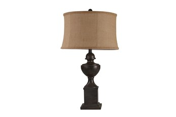 Table Lamp-29 Inch Brown Resin Urn