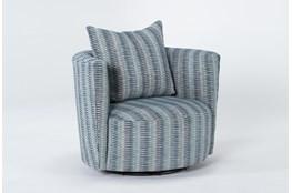 Retreat Twirl Cerulean Swivel Accent Chair
