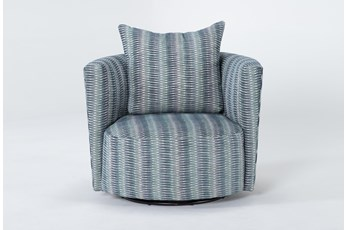 Retreat Twirl Cerulean Swivel Accent Chair
