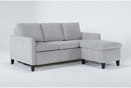 """Mikayla Smoke 76"""" Queen Plus Sleeper With Reversible Chaise"""