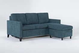 """Mikayla Teal 76"""" Queen Plus Sleeper With Reversible Chaise"""