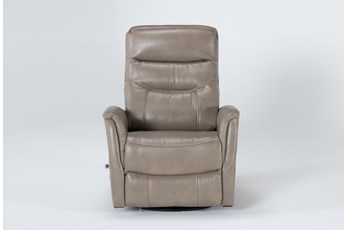 Gannon Linen Swivel Glider Recliner With Adjustable Headrest