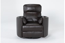 Rayna Brown Leather Power Swivel Glider Recliner With Built-In Battery