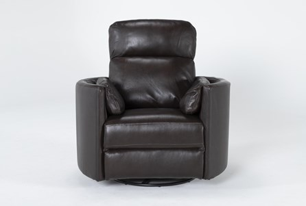 Rayna Brown Leather Power Swivel Glider Recliner With Built-In Battery - Main