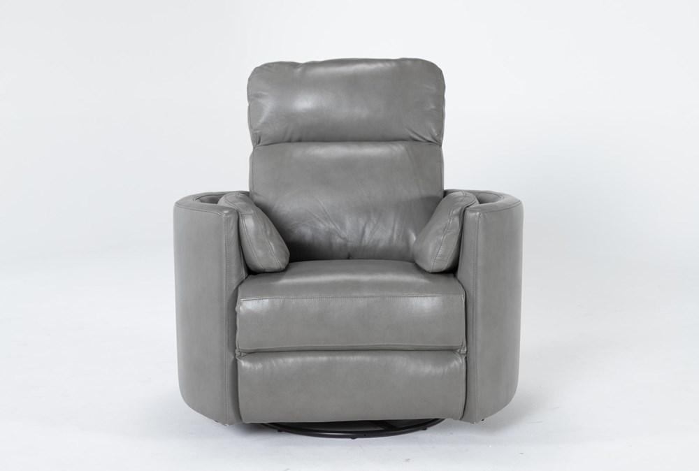 Rayna Heron Leather Power Swivel Glider Recliner With Built-In Battery
