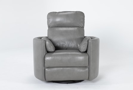 Rayna Heron Leather Power Swivel Glider Recliner With Built-In Battery - Main