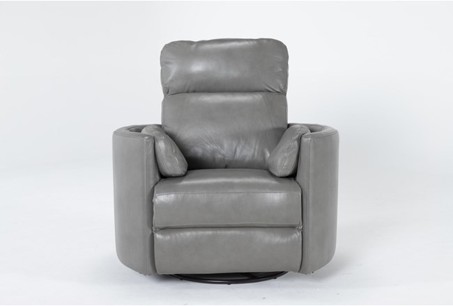 Rayna Heron Leather Power Swivel Glider Recliner With Built-In Battery - 360
