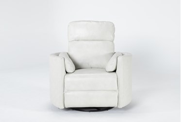 Rayna Ivory Leather Power Swivel Glider Recliner With Built-In Battery