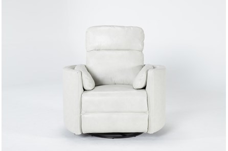 Rayna Ivory Leather Power Swivel Glider Recliner With Built-In Battery - Main