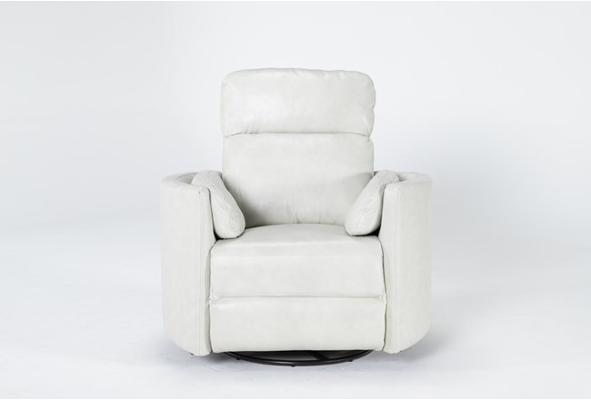 Rayna Ivory Leather Power Swivel Glider Recliner With Built-In Battery - 360