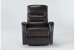 Lennon Brown Leather Power Swivel Glider Recliner With Power Headrest