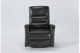 Lennon Grey Leather Power Swivel Glider Recliner With Power Headrest