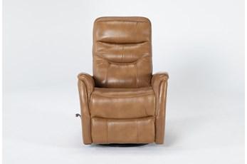 Gannon Leather Butterscotch Swivel Glider Recliner