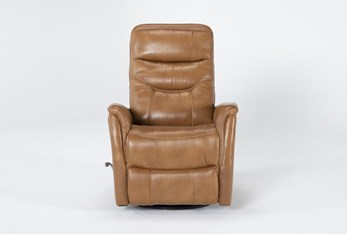 Gannon Leather Butterscotch Swivel Glider Recliner With Adjustable Headrest