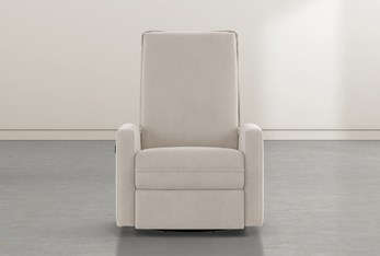 Baxter Taupe Power Swivel Glider Recliner With Power Headrest
