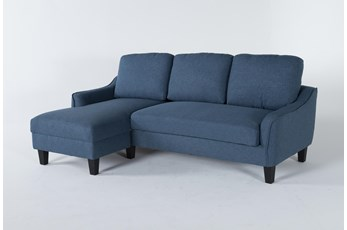 "Jarreau Blue 83"" Sofa Chaise Sleeper"