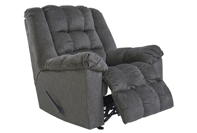 Drakestone Charcoal Rocker Recliner With Heat and Massage - 360