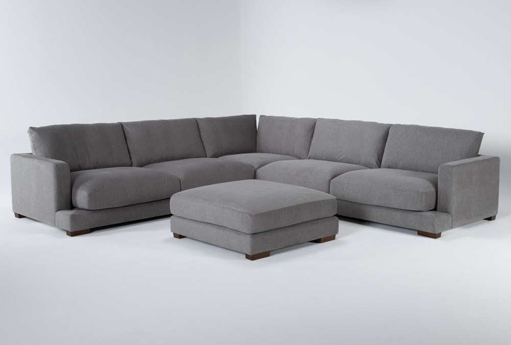 "Lindsey 3 Piece 129"" Sectional And Ottoman"